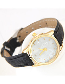Trendy Black Round Dial Shape Decorated Pure Color Watch