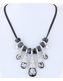 Fashion Gray Waterdrop Shape Decorated Multi-color Simple Necklace