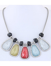 Fashion Multi-color Geometry Shape Decorated Multi-color Simple Design Necklace