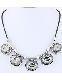 Fashion Silver Color Diamond Decorated Round Shape Pure Color Necklace