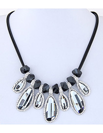 Fashion Gray Geometry Shape Decorated Multi-color Simple Design Necklace