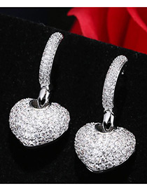 Fashion Silver Color Diamond Decorated Heart Shape Pure Color Earrings