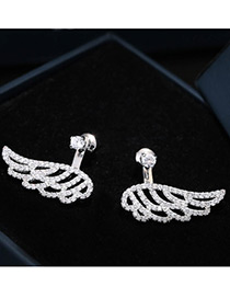 Elegant Silver Color Diamond Decorated Wing Shape Pure Color Earrings