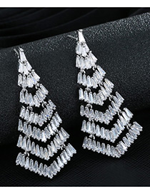 Trendy Silver Color Diamond Decorated Tassel Design Pure Color Simple Earrings
