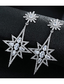 Trendy Silver Color Star Shape Decorated Pure Color Simple Earrings