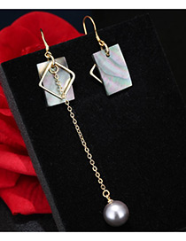 Trendy Multi-color Pearl Decorated Asymmetry Design Color Matching Earrings