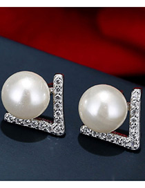 Trendy White+silver Color Pearl&diamond Decorated Color Matching Simple Earrings