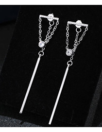 Trendy Silver Color Diamond Decorated Chain Design Pure Color Earrings
