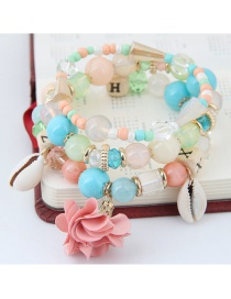Bohemia Pink Flower&shell Shape Pendant Decorated Simple Multilayer Bracelet