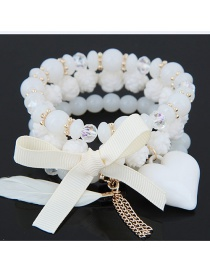 Trendy White Tassel&bowknot Decorated Multi-layer Simple Bracelet