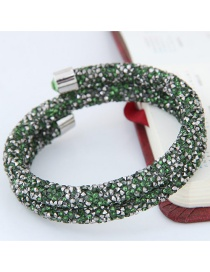 Trendy Green Color Matching Decorated Double Layer Opening Bracelet