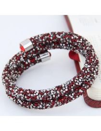 Trendy Red Color Matching Decorated Double Layer Opening Bracelet