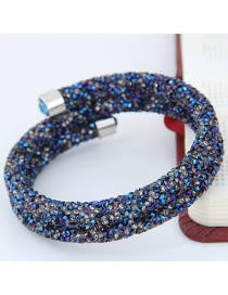 Trendy Multi-color Color Matching Decorated Double Layer Opening Bracelet