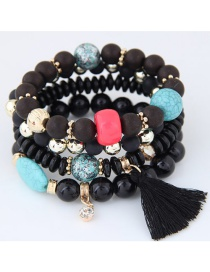Trendy Black Tassel Pendant Decorated Color Matching Multi-layer Bracelet