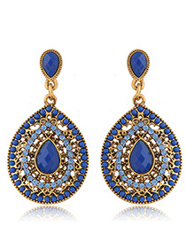 Trendy Blue Diamond Decorated Hollow Out Design Pure Color Earrings