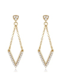 Elegant Gold Color V Shape Pendant Decorated Simple Long Chain Earrings