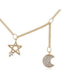 Elegant Gold Color Moon&shape Shape Pendant Decorated Simple Long Chain Necklace