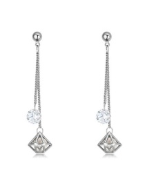 Elegant Silver Color Hollow Out Diamond Shape Pendant Decorated Simple Long Earrings