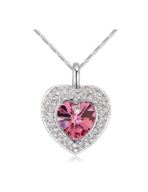 Elegant Pink Heart Shape Pendant Decorated Simple Long Chain Necklace