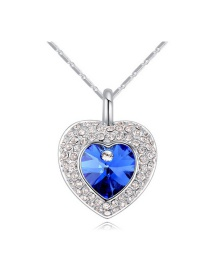 Elegant Blue Heart Shape Pendant Decorated Simple Long Chain Necklace