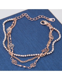 Elegant Rose Gold Hollow Out Rose Decorated Simple Mulyilayer Bracelet