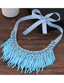 Vintage Light Blue Tassel Decoreated Simple Short Chain Collar Necklace