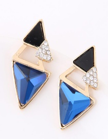 Sweet Sapphire Blue Triangle Shape Decorated Color Matching Earrings