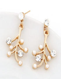 Sweet Gold Color Tree Decorated Pure Color Simple Earrings