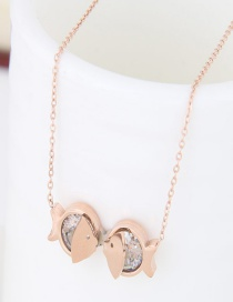 Sweet Gold Color Fish Shape Decorated Pure Color Necklace