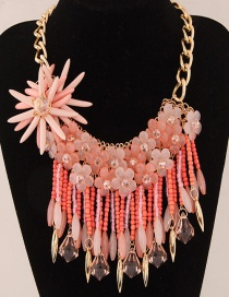 Fashion Pink Flower Decorated Color Matching Necklace