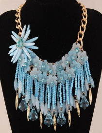 Fashion Blue Flower Decorated Color Matching Necklace