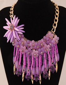 Fashion Purple Flower Decorated Color Matching Necklace
