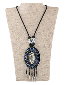 Fashion Dark Blue Oval Shape Decorated Color Matching Long Necklace