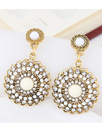 Fashion White Round Shape Diamond Decorated Hollow Out Earrings