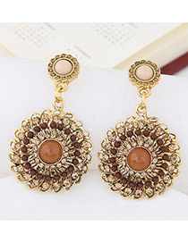 Fashion Coffee Round Shape Diamond Decorated Hollow Out Earrings