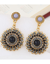 Fashion Gray Round Shape Diamond Decorated Hollow Out Earrings