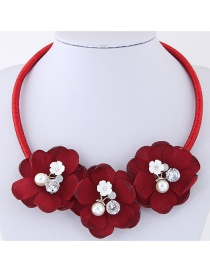 Sweet Red Flowers Decorated Pure Color Necklace