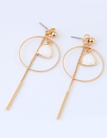 Sweet Gold Color+white Tassel&circular Ring Decorated Pure Color Earrings