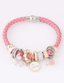 Trendy Pink Round Shape Pendant Decorated Simple Bracelet