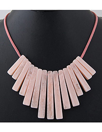 Trendy pink Vertical Shape Decorated Pure Color Necklace