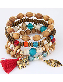 Trendy Red Elephant&tassel Decorated Multi-layer Bracelet