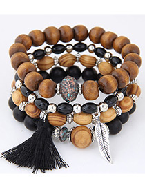 Fashion Black Leaf&tassel Decorated Multi-layer Bracelet