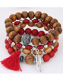 Trendy Red Leaf&tassel Decorated Multi-layer Bracelet