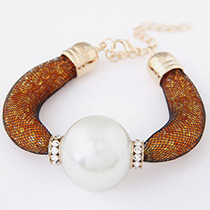 Trendy Yellow Pearls&diamond Decorated Pure Color Bracelet