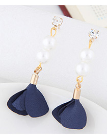 Elegant Dark Blue Pearl&diamond Decorated Flower Pure Color Earrings