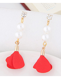 Elegant Red Pearl&diamond Decorated Flower Pure Color Earrings