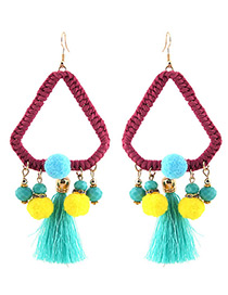 Trendy Blue Tassel Decorated Color Matching Pom Earrings