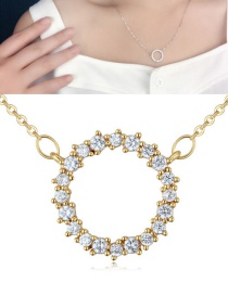 Fashion Gold Color Round Shape Pendant Decorated Necklace