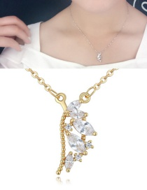 Fashion Gold Color Oval Shape Diamond Decorated Necklace