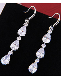 Elegant Zircon Oval Shape Diamond Decorated Long Earrings